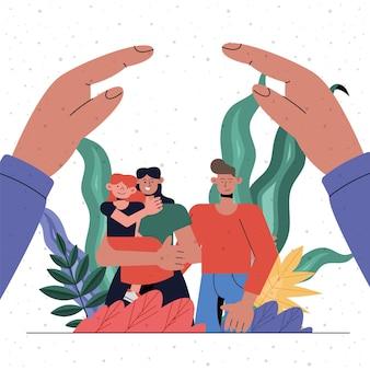 Protezione della famiglia di madre, padre e figlia sotto il design delle mani, tema dell'assicurazione sanitaria e della sicurezza