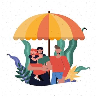 Protezione della famiglia di madre, padre e figlia sotto l'ombrello, tema dell'assicurazione sanitaria e della sicurezza