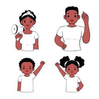 La protesta della famiglia per le vite nere è importante. madre, padre, figlio, figlia avatar con il simbolo del pugno. disegnato a mano