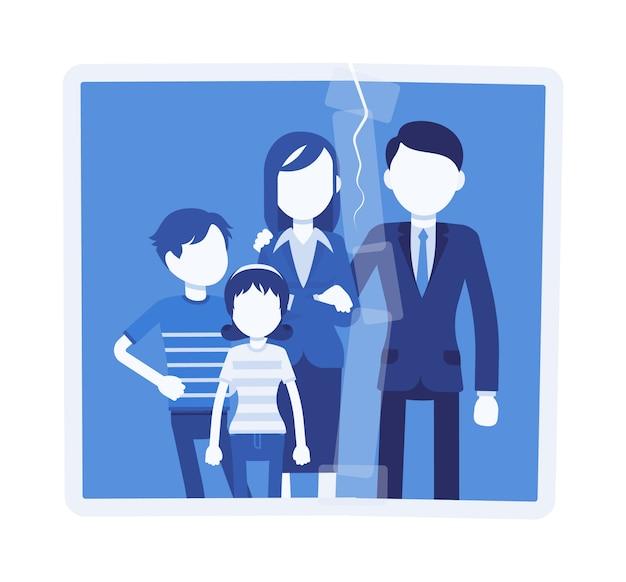 Ritratto di ricongiungimento familiare. una foto con la spaccatura incollata tra le persone, il marito a casa, il recupero delle relazioni familiari matrimoniali, il supporto psicologico sociale. illustrazione con personaggi senza volto