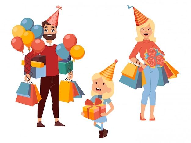 Shopping in famiglia per regali di compleanno,