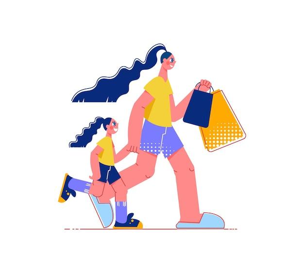 Composizione piatta per lo shopping in famiglia con personaggi di donna che cammina con una bambina che tiene in mano le borse della spesa