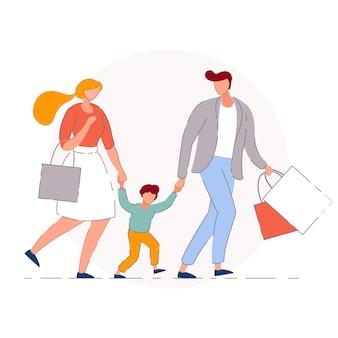 Shopping per famiglie. madre, padre e figlio acquirente bambino personaggi dei cartoni animati che camminano insieme e portano borse della spesa. vendita al dettaglio e concetto di acquisto della famiglia