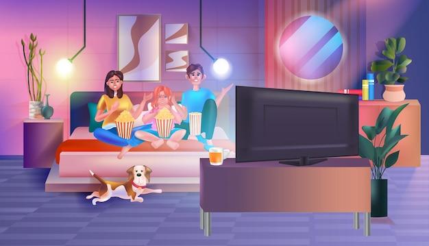 Famiglia seduta sul divano a guardare la tv e mangiare popcorn genitori felici e figlia che trascorrono del tempo insieme illustrazione vettoriale orizzontale interno del soggiorno