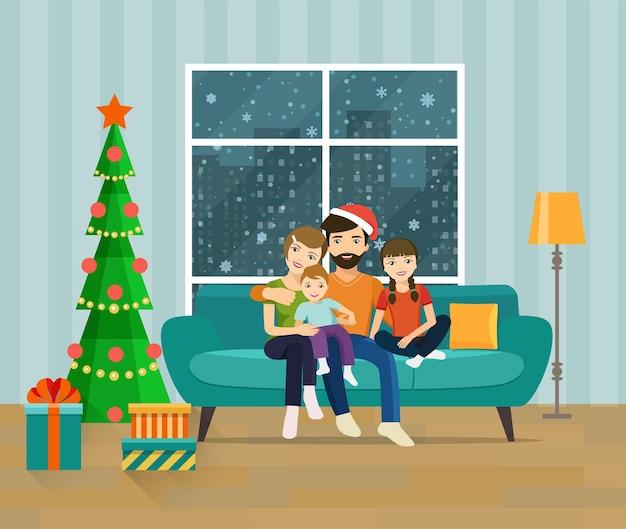 Famiglia seduta sul divano in soggiorno. felice anno nuovo e buon natale. illustrazione piana di vettore.