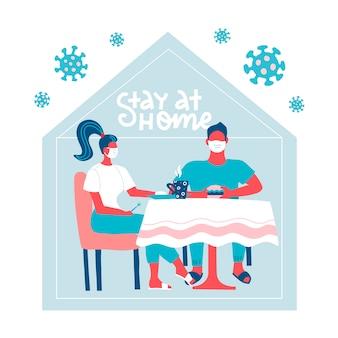 Famiglia che si siede al tavolo a casa nascondendosi dal virus. resta a casa durante l'epidemia di coronavirus. scoppio covid-19, concetto di quarantena. virus al di fuori della sagoma della casa. illustrazione piatta