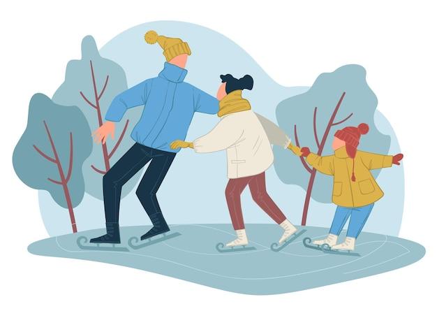 Famiglia sulla pista di pattinaggio sul ghiaccio che trascorre insieme l'inverno. mamma e papà con bambino che imparano a cavalcare nel parco. ricreazione e felici fine settimana o vacanze di madre e padre con bambino. vettore in stile piatto