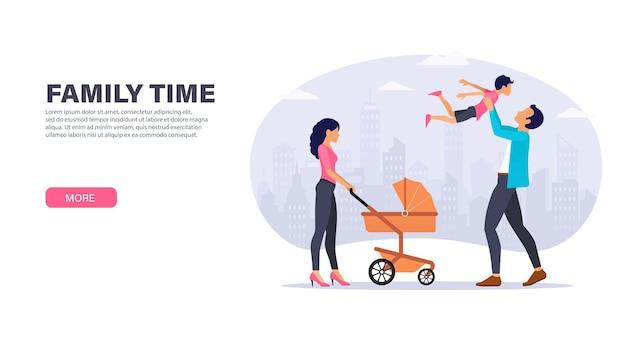 La famiglia trascorre del tempo insieme all'aperto. madre con passeggino e padre che gioca con suo figlio. design della pagina di destinazione.
