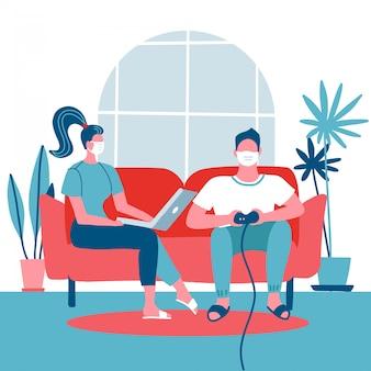 Famiglia stare a casa. donna che si siede sullo strato e che lavora al computer portatile. uomo che gioca sulla console di gioco. auto quarantena durante il concetto di epidemia di coronavirus covid-19. illustrazione piatta