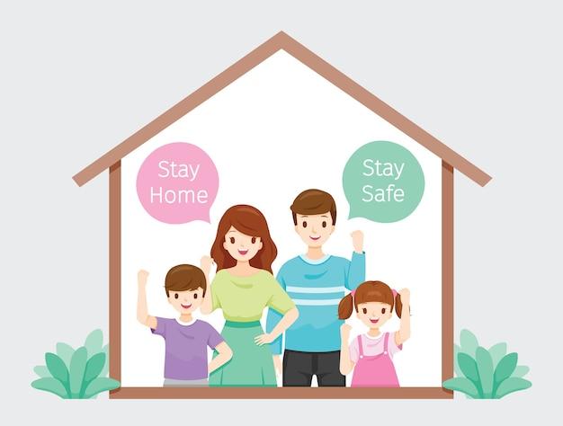La famiglia rimane a casa, resta al sicuro combattendo contro il coronavirus, covid-19, autoisolamento, protezione dalla malattia