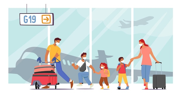 Viaggio in famiglia per le vacanze estive con i bambini concept