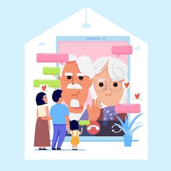 Conversazione in famiglia con i vecchi genitori tramite videocalling