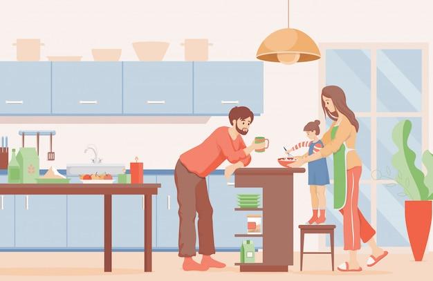 Illustrazione piana di tempo della famiglia. madre, padre e figlia che cucinano frittelle per colazione in cucina.