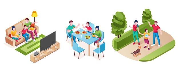 La famiglia insieme guarda la tv mangia la cena a piedi nel parco