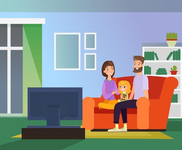 Famiglia insieme a guardare la tv, serata in famiglia. genitori felici e figlia che si siedono sul divano in soggiorno guardano la televisione, illustrazione di stile piano del fumetto.
