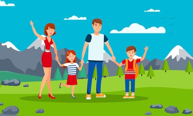 Illustrazione piana del fumetto di vettore di turismo della famiglia