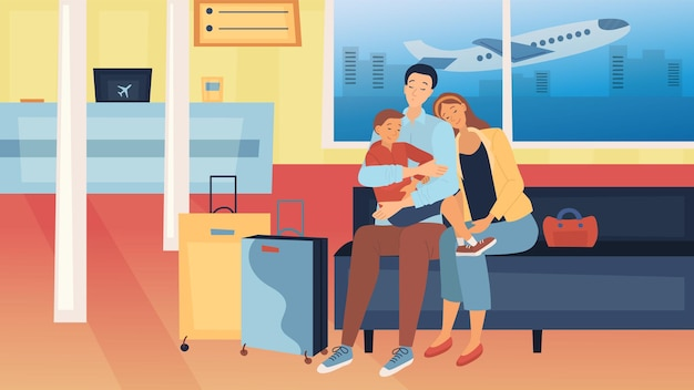 Concetto di viaggio con la famiglia. la famiglia felice con i bagagli sta viaggiando insieme. genitori con bambini dormono seduti in aeroporto in attesa del loro volo.