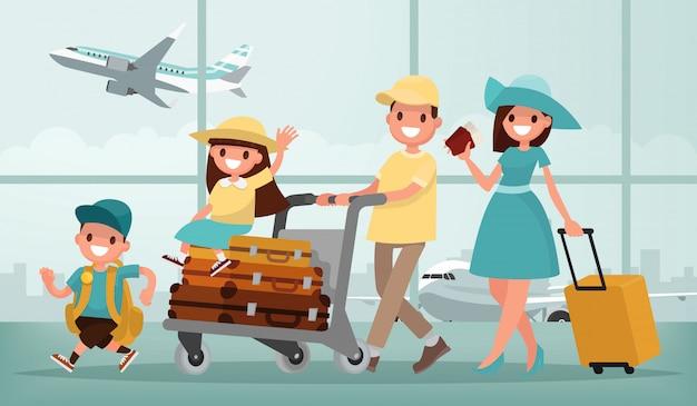Viaggio con la famiglia. padre madre, figlio e figlia in aeroporto. illustrazione in uno stile piatto