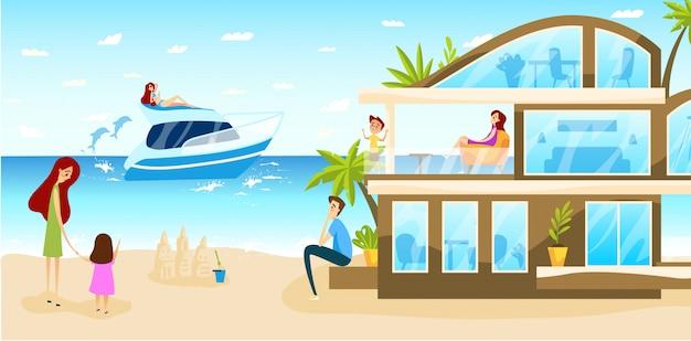 Viaggio della famiglia in albergo di lusso sulle vacanze estive, gente felice al centro balneare moderno, illustrazione