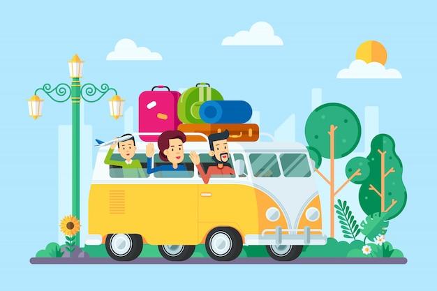 Famiglia che viaggia in macchina