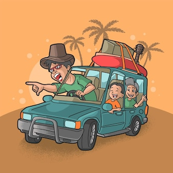 Illustrazione vettoriale di vacanza in viaggio in famiglia