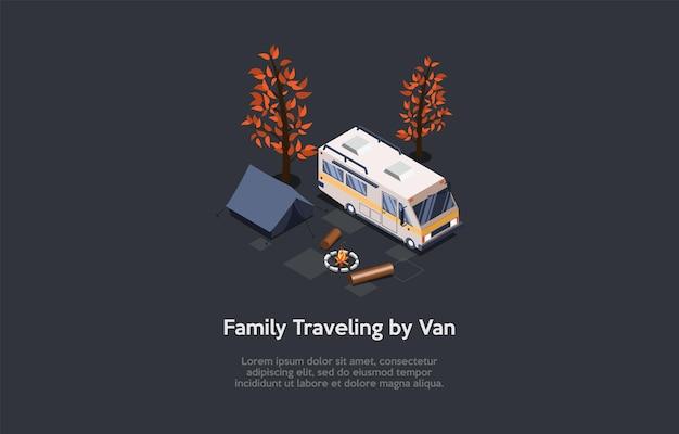 Famiglia che viaggia in furgone, composizione concettuale di ricreazione di campeggio.
