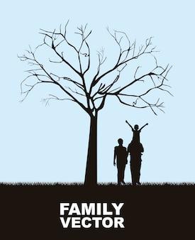 Famiglia sotto l'albero sopra l'illustrazione di vettore del fondo del cielo