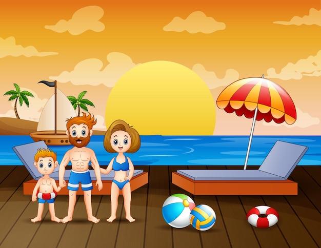 Illustrazione di vacanza in famiglia sulla spiaggia
