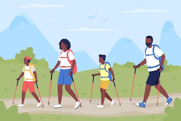 Famiglia in vacanza in appartamento di campagna. la camminata nordica come ricreazione attiva per il legame.