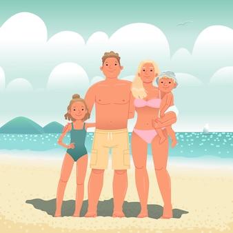 Vacanza in famiglia al mare papà mamma figlia e figlio sulla spiaggia in riva all'oceano