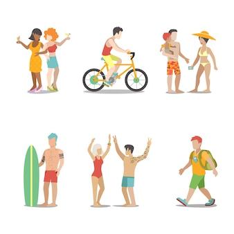 Insieme di vacanza in famiglia. uomo donna bambini che vanno a divertirsi illustrazione vacanze interessanti. collezione di stile di vita turistico itinerante.