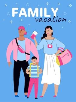 Vacanze in famiglia e banner di viaggio estivo con schizzo di persone