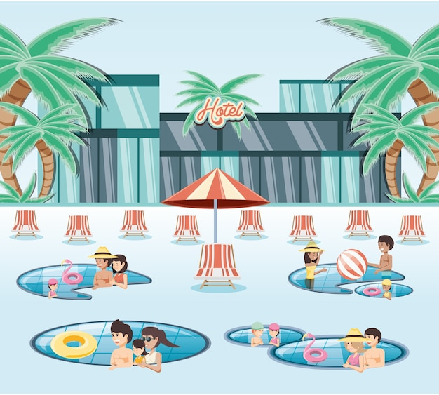 Vacanze in famiglia in piscina viaggio vettoriale ilustration