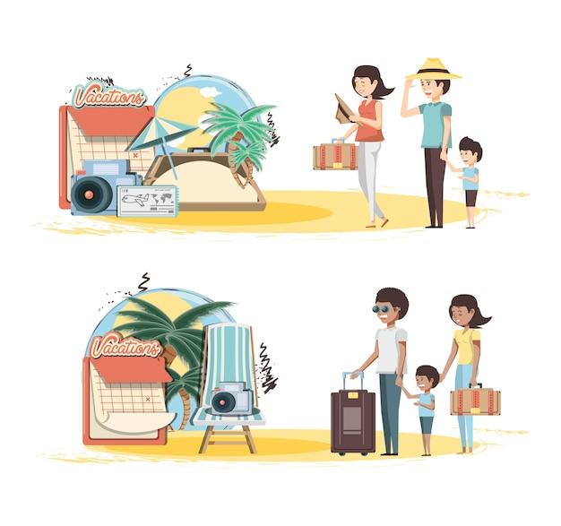 Le vacanze di famiglia hanno messo il ilustration di vettore di viaggio delle icone