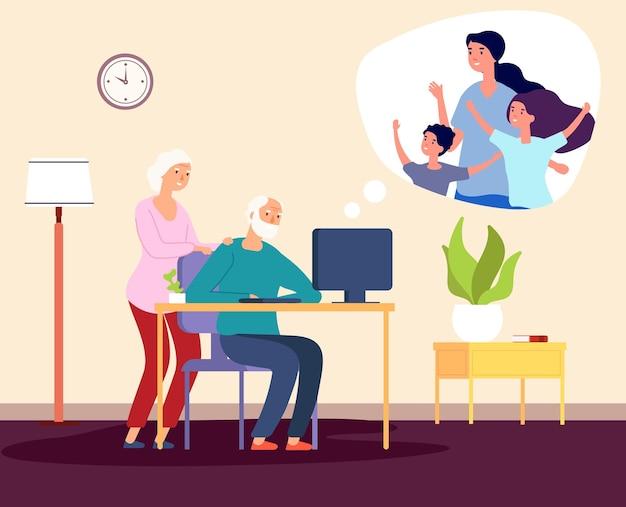 Videochiamata di famiglia. comunicazione online con i nonni. illustrazione vettoriale di famiglia felice. nonna, nonno, figlia. comunicazione chiamata in linea, famiglia di schermi video