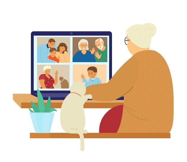 Videoconferenza familiare. comunicazione in linea.