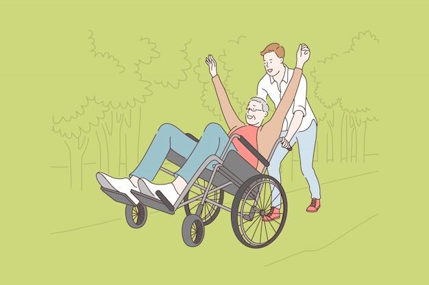 Famiglia, volontariato, disabilità, illustrazione di cura