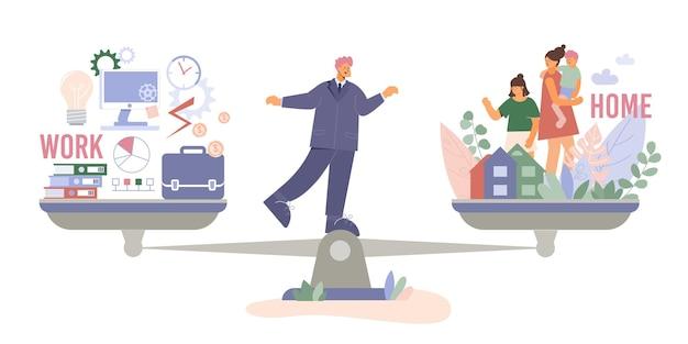 Composizione famiglia vs lavoro con carattere scarabocchio dell'uomo in piedi in equilibrio