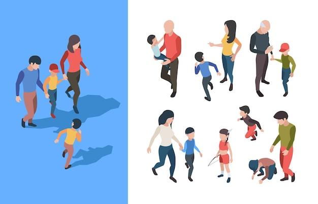 Famiglia a piedi. genitori che giocano con la raccolta isometrica di vettore sgargiante dell'adolescente della famiglia felice dei bambini. isometrica della famiglia che gioca con l'illustrazione dei bambini