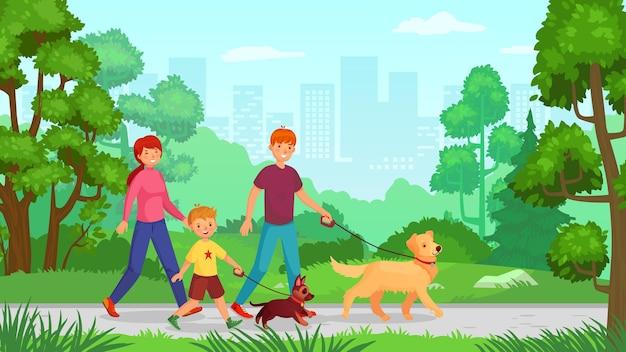 Famiglia che cammina con il cane