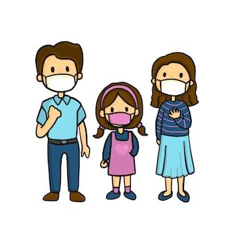 Famiglia che indossa maschere mediche per prevenire malattie, influenza, inquinamento atmosferico e stili di disegno a mano. carattere di famiglia doodle.