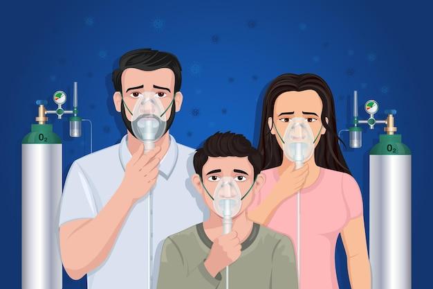 Famiglia che indossa maschera ad ossigeno con bombola effetto covid 19