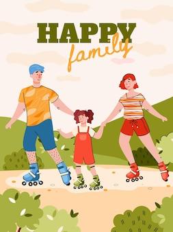 Banner di fine settimana in famiglia con illustrazione di cartone animato rulli di pattinaggio in famiglia