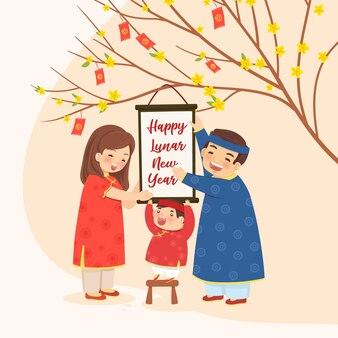 Famiglia con un albero di albicocche