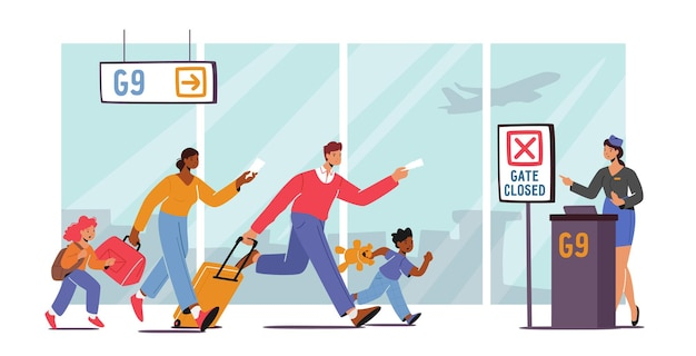 Famiglia con bambini in ritardo per l'imbarco aereo. le persone preoccupate corrono con le borse sconvolte dal volo perso