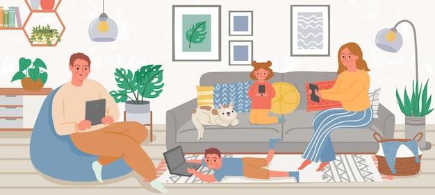 Famiglia con gadget. genitori e bambini a casa che utilizzano smartphone, tablet e laptop per social media e giochi. concetto di vettore di dipendenza da gadget. illustrazione della casa di famiglia insieme al telefono
