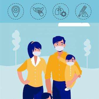 Famiglia con icone di protezione e sintomi del coronavirus