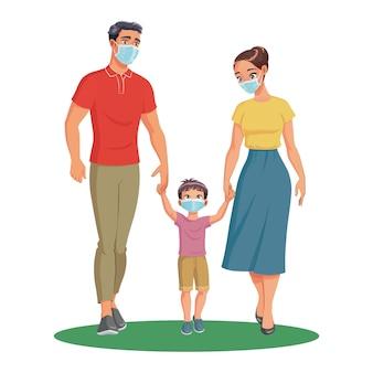 Famiglia con bambino che indossa una maschera per proteggersi dall'illustrazione di covid-19.