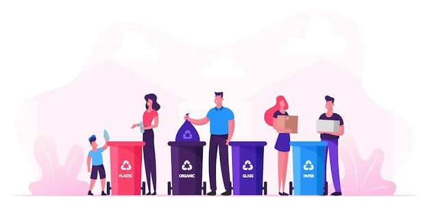 La famiglia con i bambini raccoglie la lettiera portala nei cestini, le persone riciclano i rifiuti in contenitori diversi per la separazione per ridurre l'inquinamento ambientale. cartoon illustrazione piatta