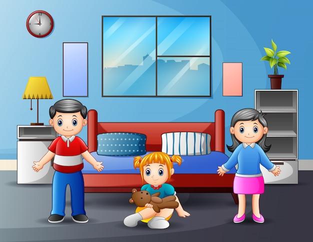Famiglia con i genitori e bambino nell'illustrazione della camera da letto